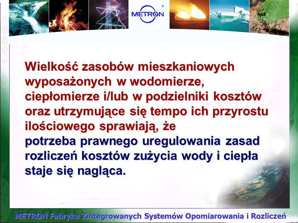 METRON Fabryka Zintegrowanych Systemów Opomiarowania i Rozliczeń Opomiarowany,Opomiarowany, W przypadku rozliczeń zużycia wody podstawą rozliczeń są w