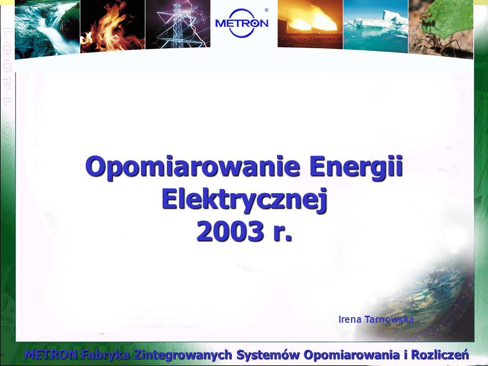 METRON Fabryka Zintegrowanych Systemów Opomiarowania i Rozliczeń Opomiarowanie Energii Elektrycznej 2003 r.