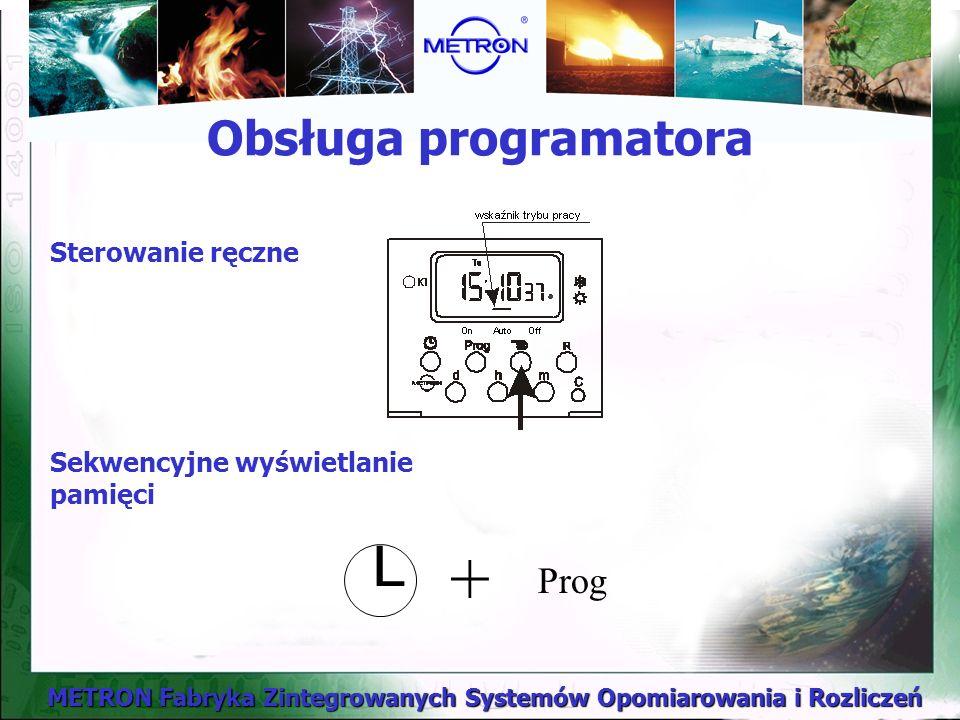 METRON Fabryka Zintegrowanych Systemów Opomiarowania i Rozliczeń Sterowanie ręczne Sekwencyjne wyświetlanie pamięci Prog L + Obsługa programatora