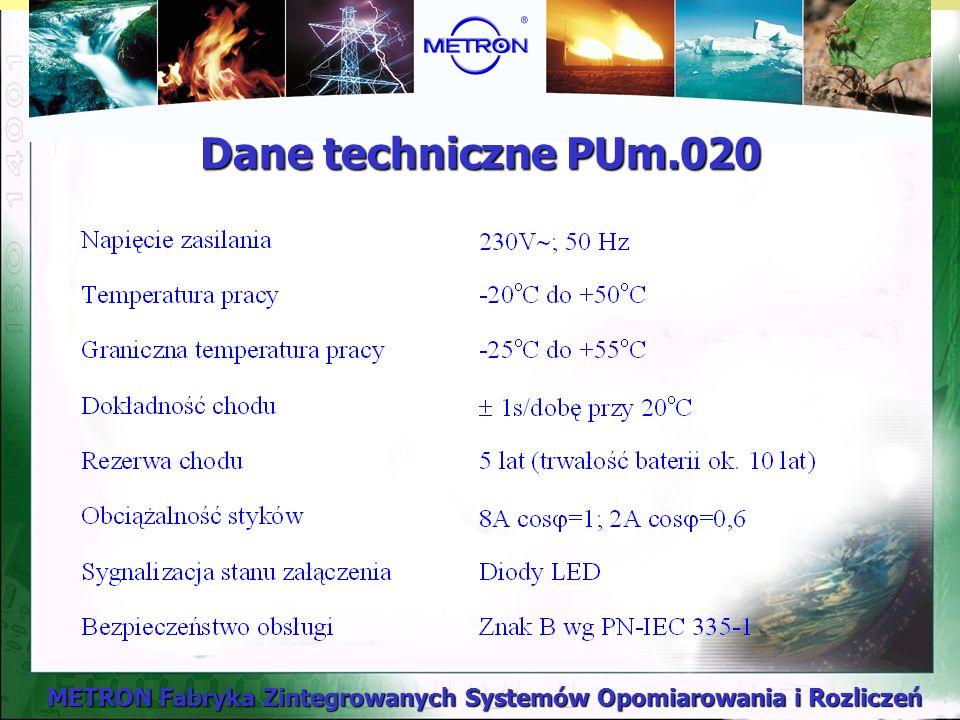 METRON Fabryka Zintegrowanych Systemów Opomiarowania i Rozliczeń Dane techniczne PUm.020