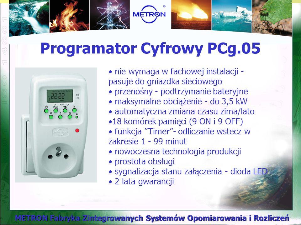 Programator Cyfrowy PCg.05 nie wymaga w fachowej instalacji - pasuje do gniazdka sieciowego przenośny - podtrzymanie bateryjne maksymalne obciążenie - do 3,5 kW automatyczna zmiana czasu zima/lato 18 komórek pamięci (9 ON i 9 OFF) funkcja Timer- odliczanie wstecz w zakresie 1 - 99 minut nowoczesna technologia produkcji prostota obsługi sygnalizacja stanu załączenia - dioda LED 2 lata gwarancji