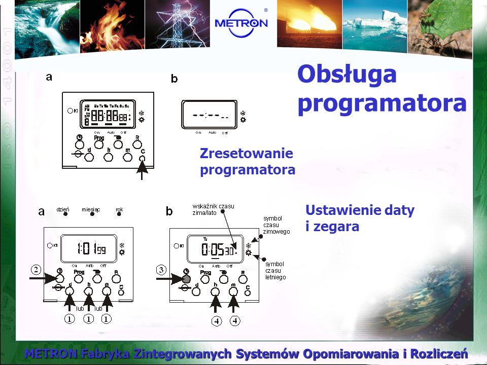 METRON Fabryka Zintegrowanych Systemów Opomiarowania i Rozliczeń Obsługa programatora Zresetowanie programatora Ustawienie daty i zegara