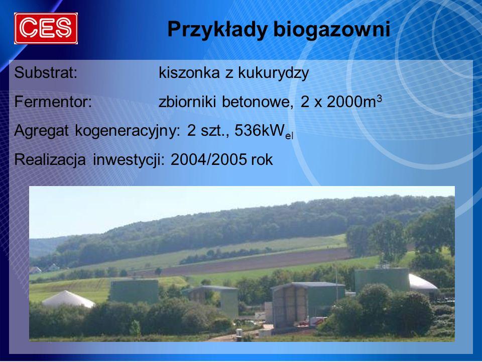 Przykłady biogazowni Substrat:kiszonka z kukurydzy Fermentor:zbiorniki betonowe, 2 x 2000m 3 Agregat kogeneracyjny: 2 szt., 536kW el Realizacja inwest