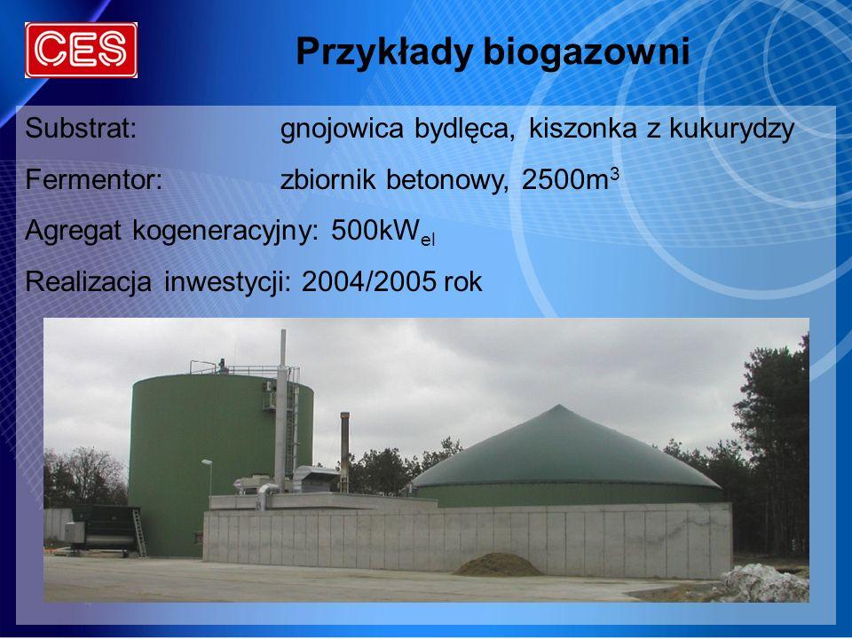 Przykłady biogazowni Substrat:gnojowica bydlęca, kiszonka z kukurydzy Fermentor:zbiornik betonowy, 2500m 3 Agregat kogeneracyjny: 500kW el Realizacja