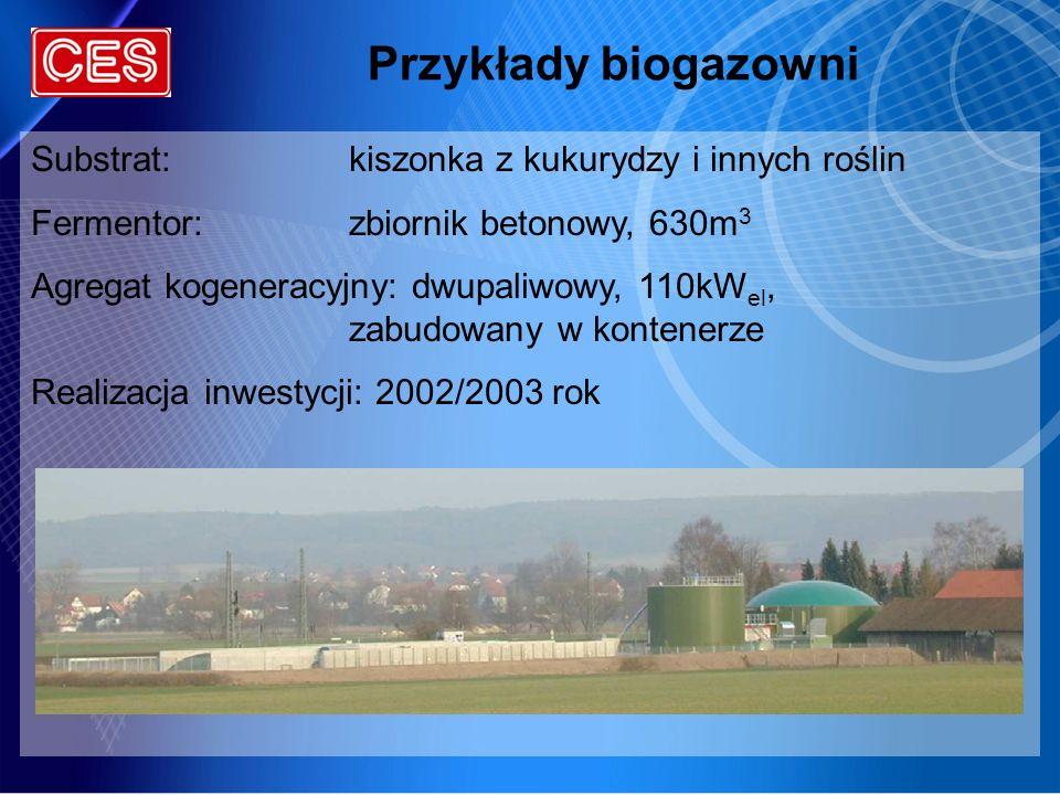 Przykłady biogazowni Substrat:kiszonka z kukurydzy i innych roślin Fermentor:zbiornik betonowy, 630m 3 Agregat kogeneracyjny: dwupaliwowy, 110kW el, z