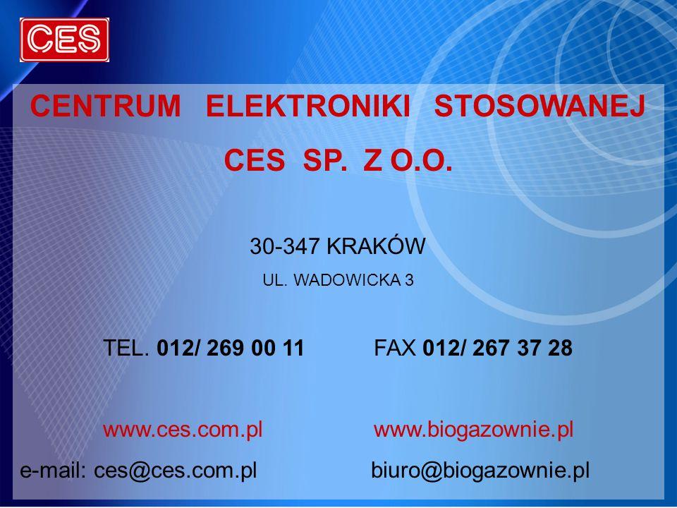 CENTRUM ELEKTRONIKI STOSOWANEJ CES SP. Z O.O. 30-347 KRAKÓW UL. WADOWICKA 3 TEL. 012/ 269 00 11FAX 012/ 267 37 28 www.ces.com.plwww.biogazownie.pl e-m