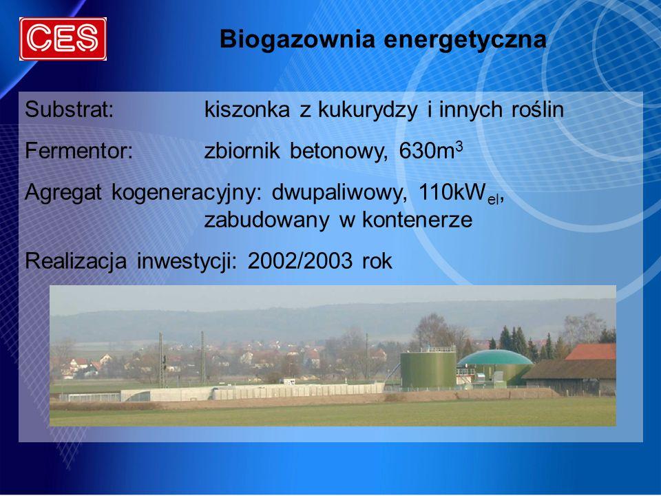 Substrat:kiszonka z kukurydzy i innych roślin Fermentor:zbiornik betonowy, 630m 3 Agregat kogeneracyjny: dwupaliwowy, 110kW el, zabudowany w kontenerz