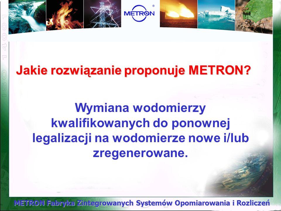 METRON Fabryka Zintegrowanych Systemów Opomiarowania i Rozliczeń Jakie rozwiązanie proponuje METRON? Wymiana wodomierzy kwalifikowanych do ponownej le