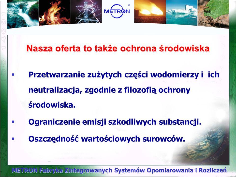 METRON Fabryka Zintegrowanych Systemów Opomiarowania i Rozliczeń Nasza oferta to także ochrona środowiska Przetwarzanie zużytych części wodomierzy i i