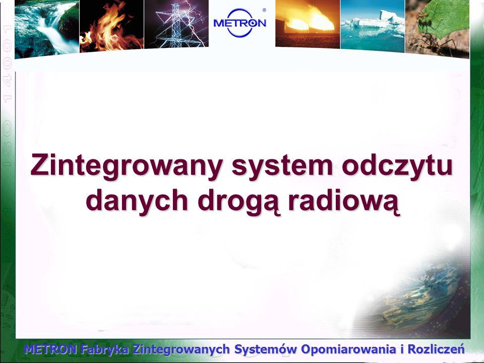 METRON Fabryka Zintegrowanych Systemów Opomiarowania i Rozliczeń Zintegrowany system odczytu danych drogą radiową