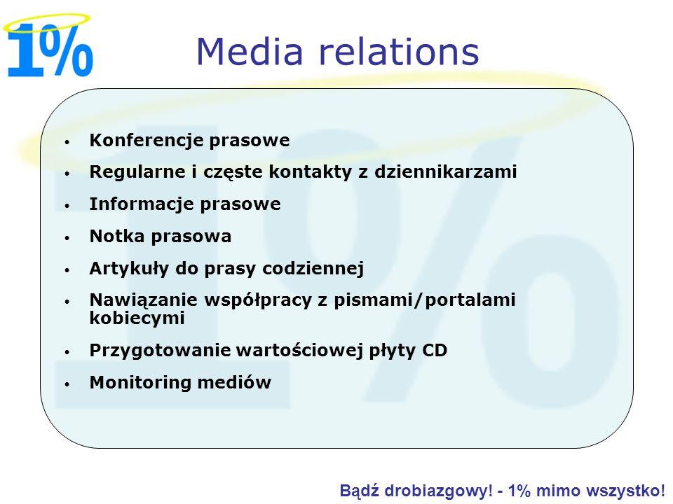 Konferencje prasowe Regularne i częste kontakty z dziennikarzami Informacje prasowe Notka prasowa Artykuły do prasy codziennej Nawiązanie współpracy z