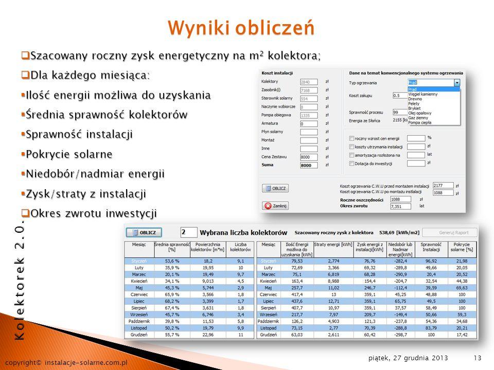 piątek, 27 grudnia 2013 copyright© instalacje-solarne.com.pl 13 Wyniki obliczeń Szacowany roczny zysk energetyczny na m 2 kolektora; Szacowany roczny