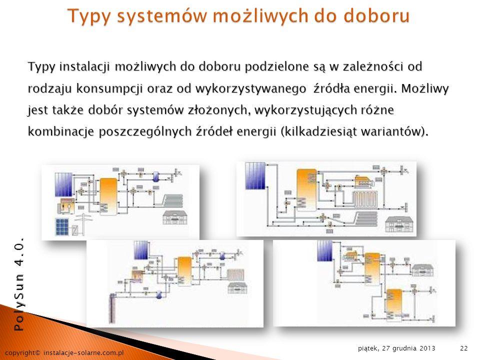 piątek, 27 grudnia 2013 copyright© instalacje-solarne.com.pl 22 Typy instalacji możliwych do doboru podzielone są w zależności od rodzaju konsumpcji o