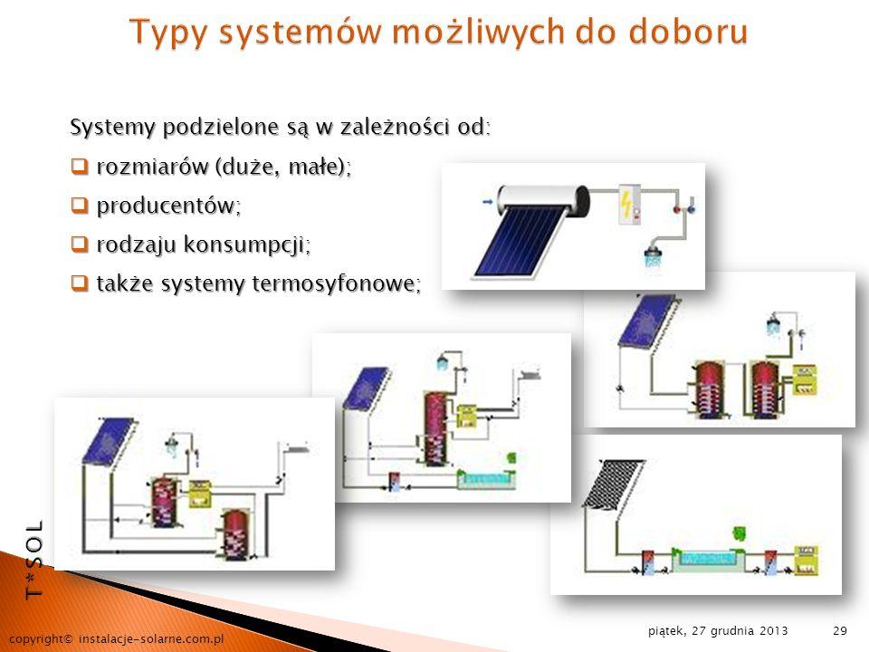 piątek, 27 grudnia 2013 copyright© instalacje-solarne.com.pl 29 T*SOL Systemy podzielone są w zależności od: rozmiarów (duże, małe); rozmiarów (duże,