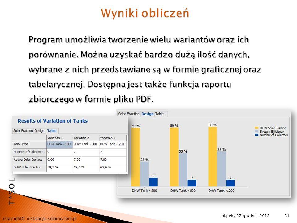piątek, 27 grudnia 2013 copyright© instalacje-solarne.com.pl 31 Program umożliwia tworzenie wielu wariantów oraz ich porównanie. Można uzyskać bardzo