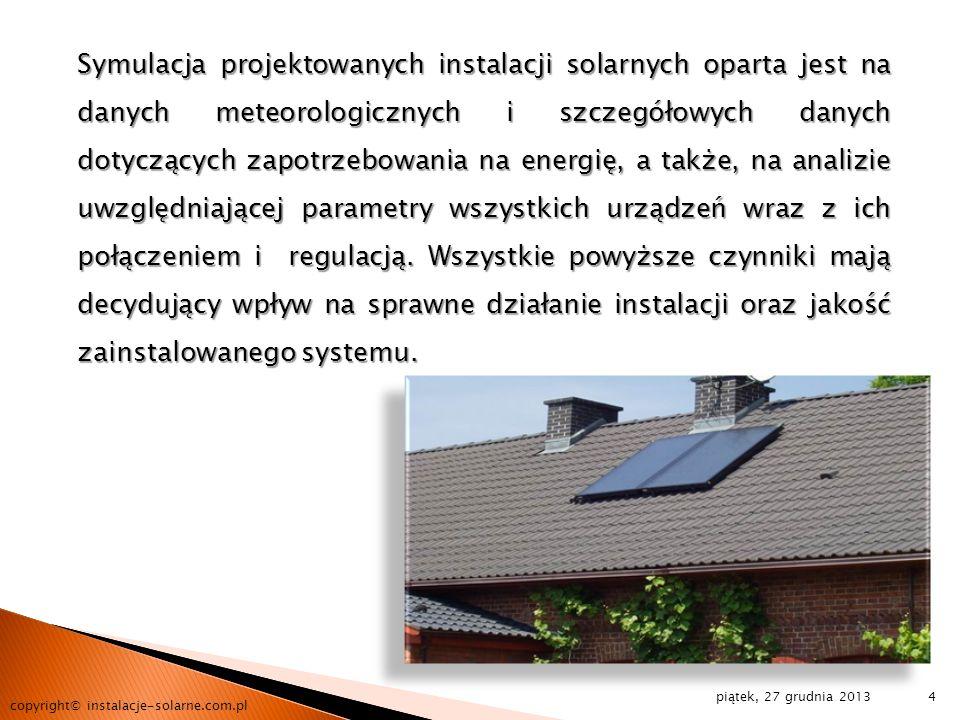 piątek, 27 grudnia 2013 copyright© instalacje-solarne.com.pl 4 Symulacja projektowanych instalacji solarnych oparta jest na danych meteorologicznych i