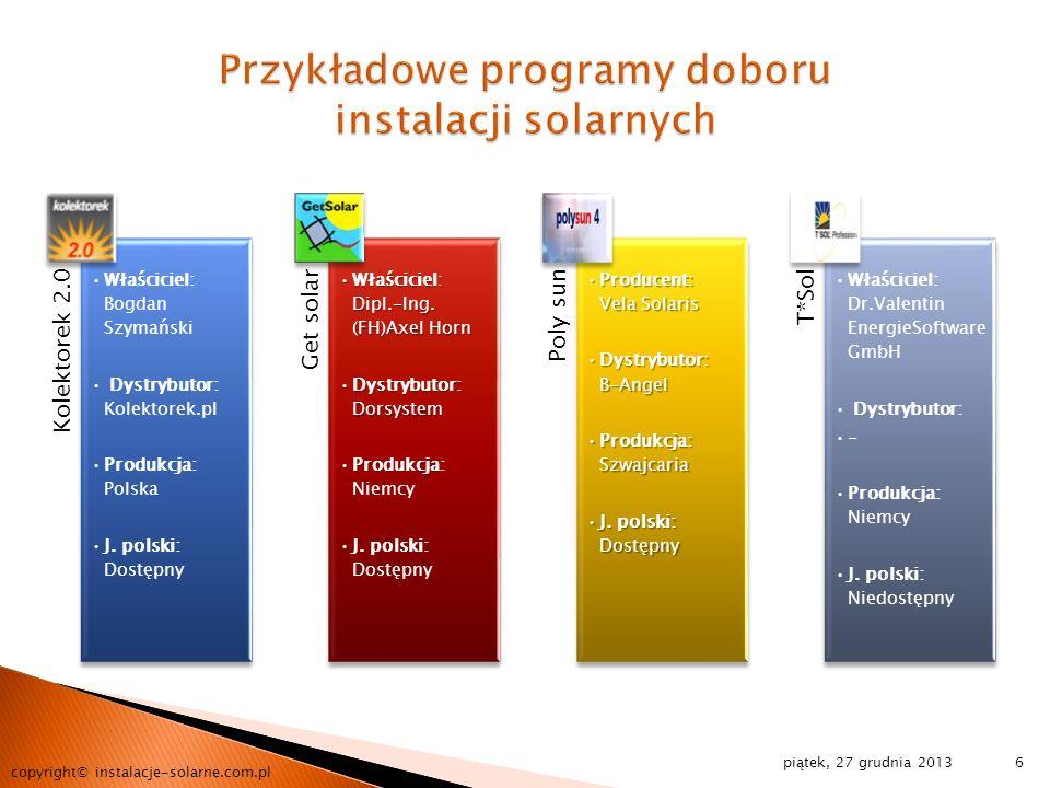 piątek, 27 grudnia 2013 copyright© instalacje-solarne.com.pl 6 Kolektorek 2.0 Właściciel: Bogdan Szymański Dystrybutor: Kolektorek.pl Produkcja: Polsk