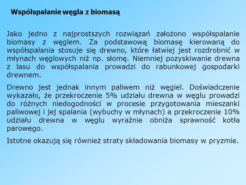 Współspalanie węgla z biomasą Jako jedno z najprostszych rozwiązań założono współspalanie biomasy z węglem. Za podstawową biomasę kierowaną do współsp