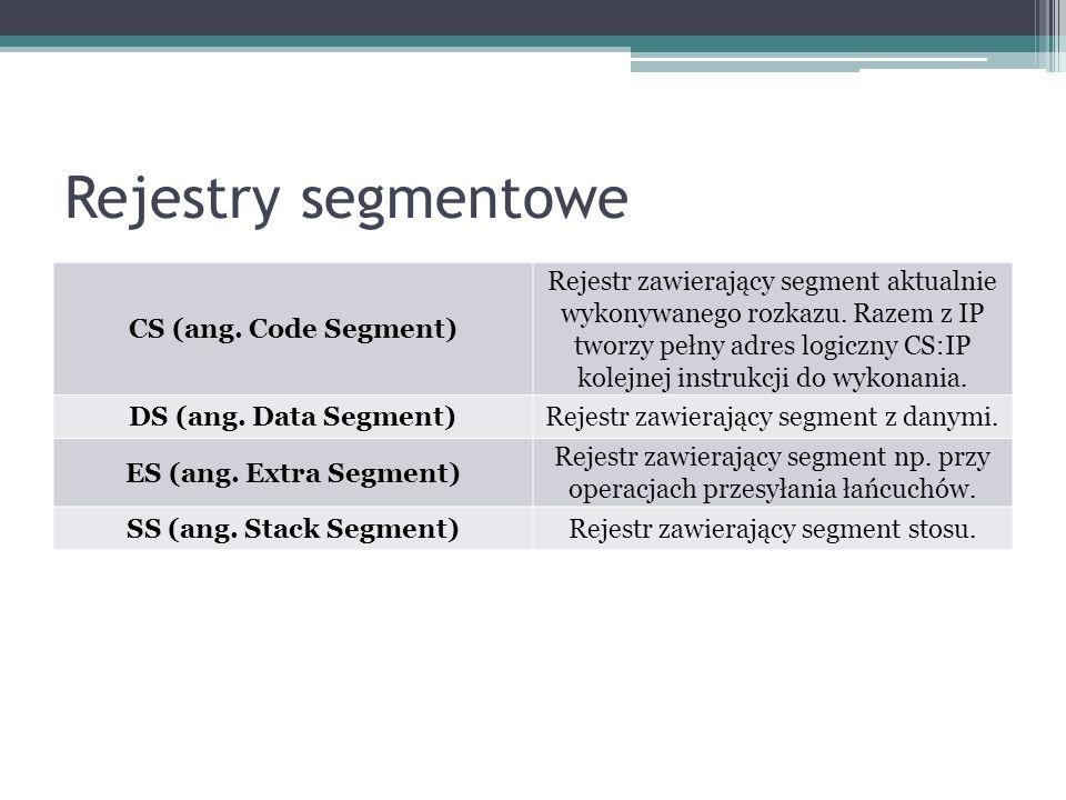 Rejestry segmentowe CS (ang. Code Segment) Rejestr zawierający segment aktualnie wykonywanego rozkazu. Razem z IP tworzy pełny adres logiczny CS:IP ko