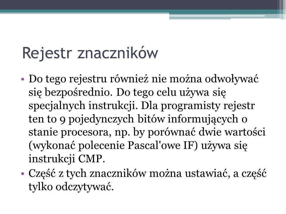 Rejestr znaczników Do tego rejestru również nie można odwoływać się bezpośrednio. Do tego celu używa się specjalnych instrukcji. Dla programisty rejes
