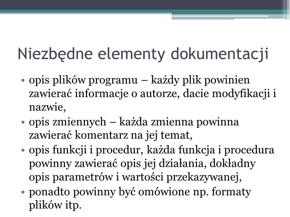 Niezbędne elementy dokumentacji opis plików programu – każdy plik powinien zawierać informacje o autorze, dacie modyfikacji i nazwie, opis zmiennych –