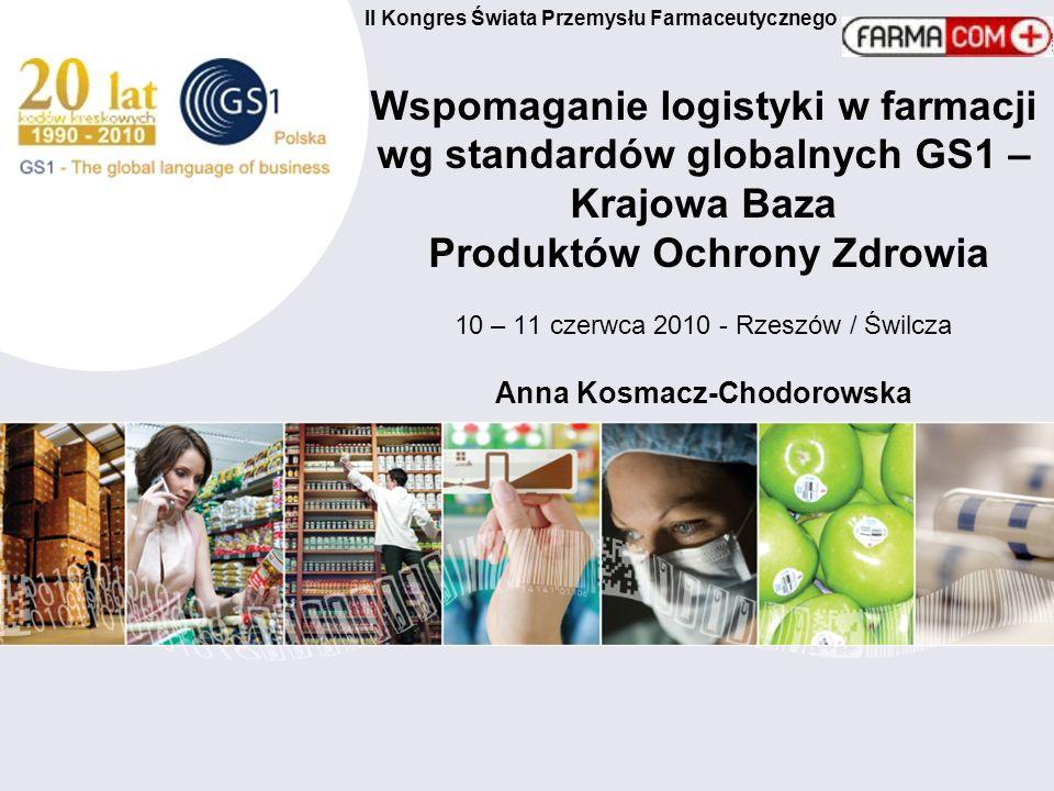II Kongres Świata Przemysłu Farmaceutycznego Wspomaganie logistyki w farmacji wg standardów globalnych GS1 – Krajowa Baza Produktów Ochrony Zdrowia 10