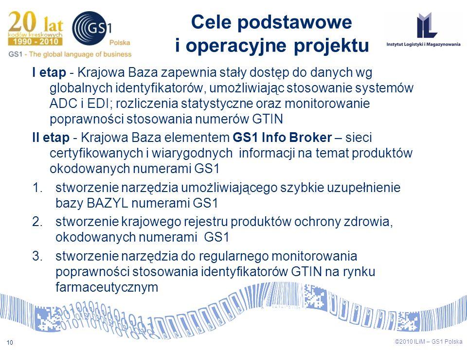 10 ©2010 ILiM – GS1 Polska Cele podstawowe i operacyjne projektu I etap - Krajowa Baza zapewnia stały dostęp do danych wg globalnych identyfikatorów,