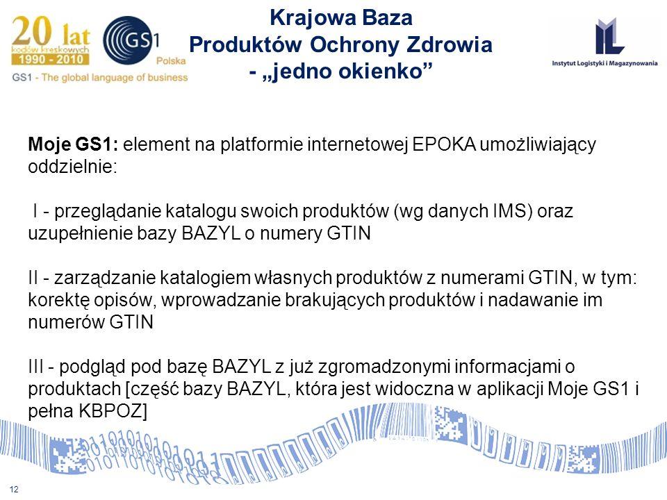 12 Krajowa Baza Produktów Ochrony Zdrowia - jedno okienko Moje GS1: element na platformie internetowej EPOKA umożliwiający oddzielnie: I - przeglądani