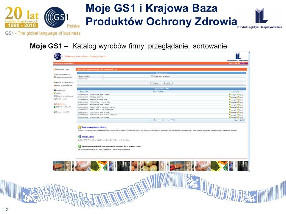 13 Moje GS1 i Krajowa Baza Produktów Ochrony Zdrowia Moje GS1 – Katalog wyrobów firmy: przeglądanie, sortowanie