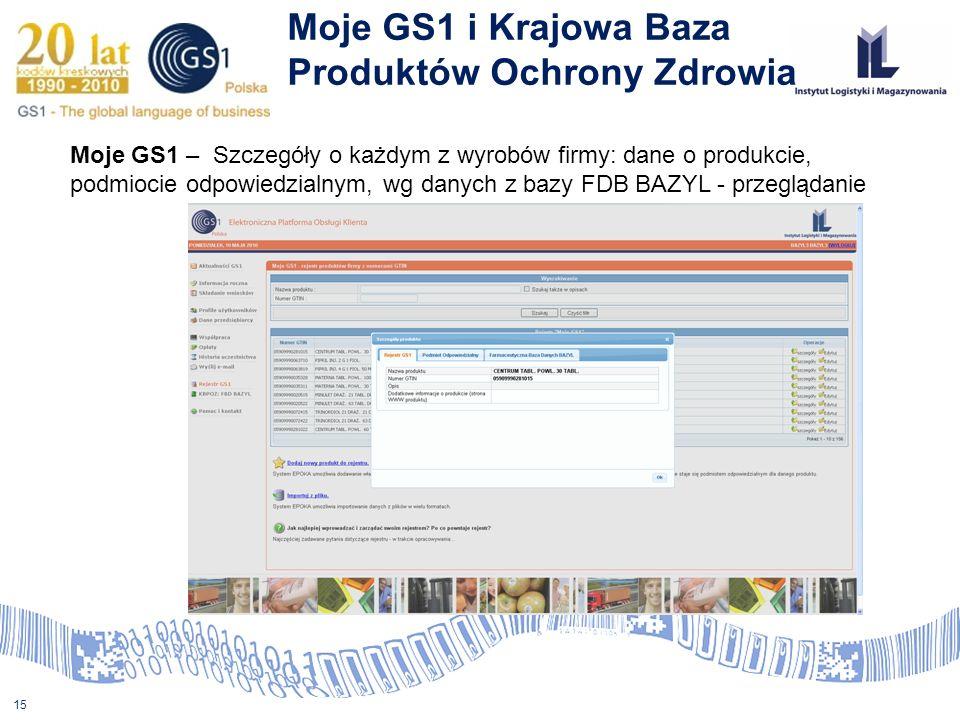 15 Moje GS1 i Krajowa Baza Produktów Ochrony Zdrowia Moje GS1 – Szczegóły o każdym z wyrobów firmy: dane o produkcie, podmiocie odpowiedzialnym, wg da