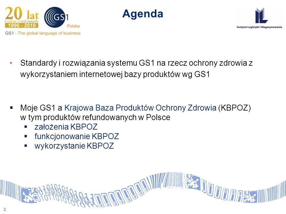 2 Agenda Standardy i rozwiązania systemu GS1 na rzecz ochrony zdrowia z wykorzystaniem internetowej bazy produktów wg GS1 Moje GS1 a Krajowa Baza Prod