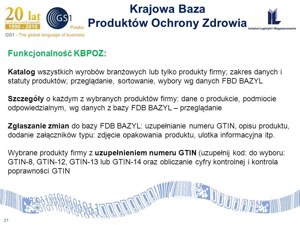 21 Krajowa Baza Produktów Ochrony Zdrowia Funkcjonalność KBPOZ: Katalog wszystkich wyrobów branżowych lub tylko produkty firmy; zakres danych i statut