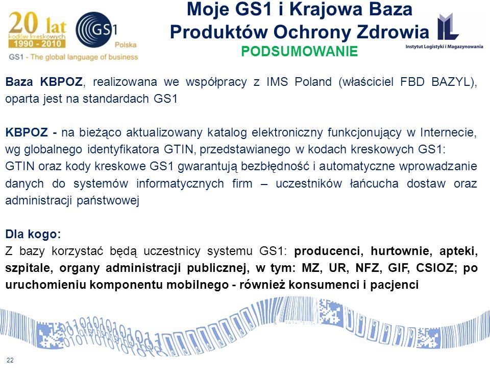 22 Moje GS1 i Krajowa Baza Produktów Ochrony Zdrowia PODSUMOWANIE Baza KBPOZ, realizowana we współpracy z IMS Poland (właściciel FBD BAZYL), oparta je