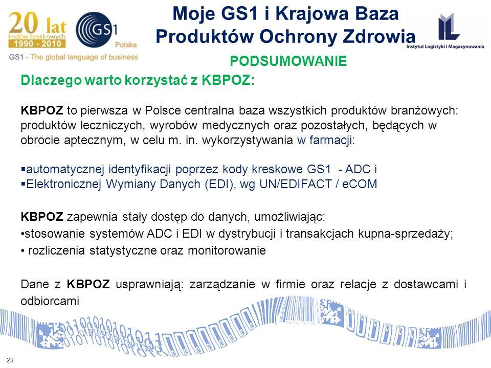 23 Moje GS1 i Krajowa Baza Produktów Ochrony Zdrowia PODSUMOWANIE Dlaczego warto korzystać z KBPOZ: KBPOZ to pierwsza w Polsce centralna baza wszystki