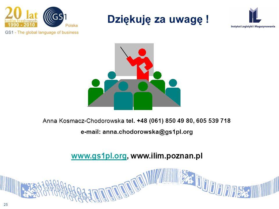 25 Anna Kosmacz-Chodorowska Anna Kosmacz-Chodorowska tel. +48 (061) 850 49 80, 605 539 718 e-mail: anna.chodorowska@gs1pl.org www.gs1pl.orgwww.gs1pl.o