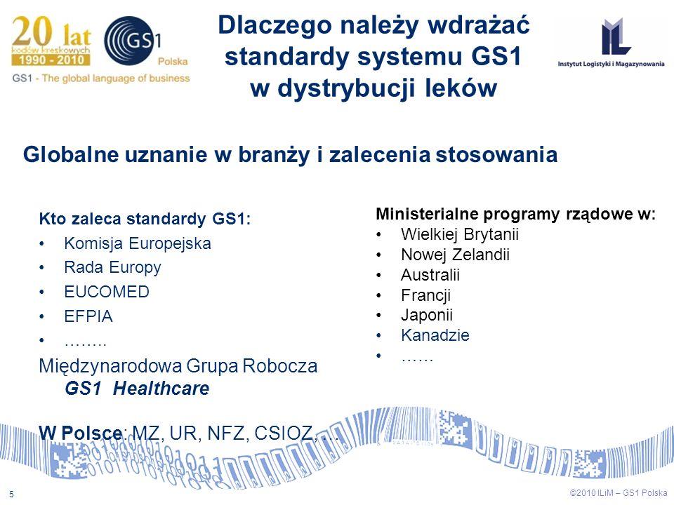 5 ©2010 ILiM – GS1 Polska Kto zaleca standardy GS1: Komisja Europejska Rada Europy EUCOMED EFPIA …….. Międzynarodowa Grupa Robocza GS1 Healthcare W Po