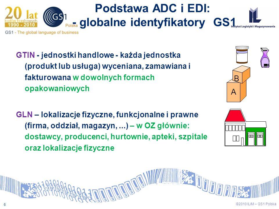 6 ©2010 ILiM – GS1 Polska GTIN - jednostki handlowe - każda jednostka (produkt lub usługa) wyceniana, zamawiana i fakturowana w dowolnych formach opak