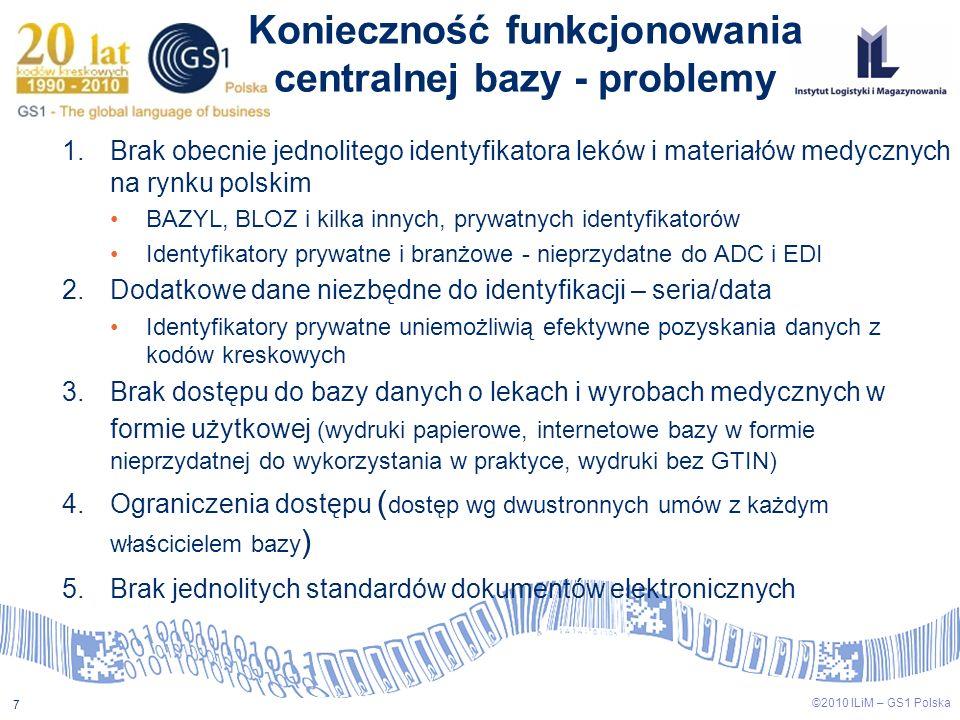 7 ©2010 ILiM – GS1 Polska Konieczność funkcjonowania centralnej bazy - problemy 1.Brak obecnie jednolitego identyfikatora leków i materiałów medycznyc