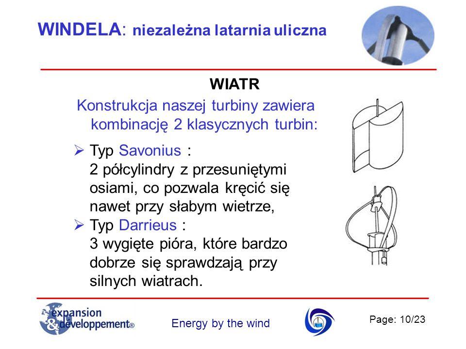Page: 10/23 Energy by the wind WINDELA: niezależna latarnia uliczna WIATR Konstrukcja naszej turbiny zawiera kombinację 2 klasycznych turbin: Typ Savo