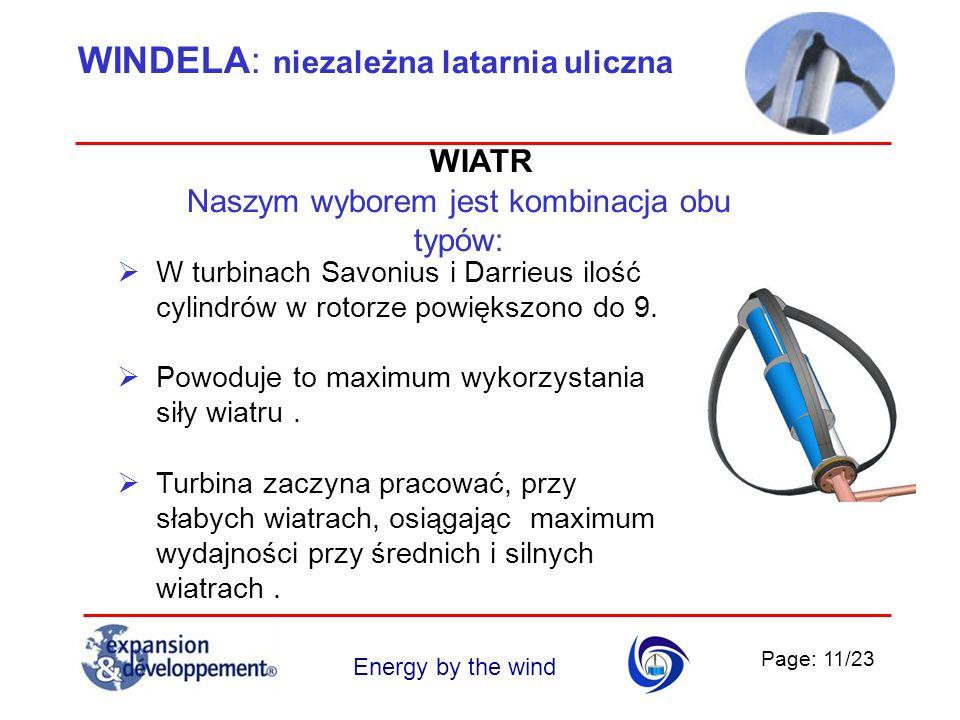 Page: 11/23 Energy by the wind WINDELA: niezależna latarnia uliczna Naszym wyborem jest kombinacja obu typów: W turbinach Savonius i Darrieus ilość cy