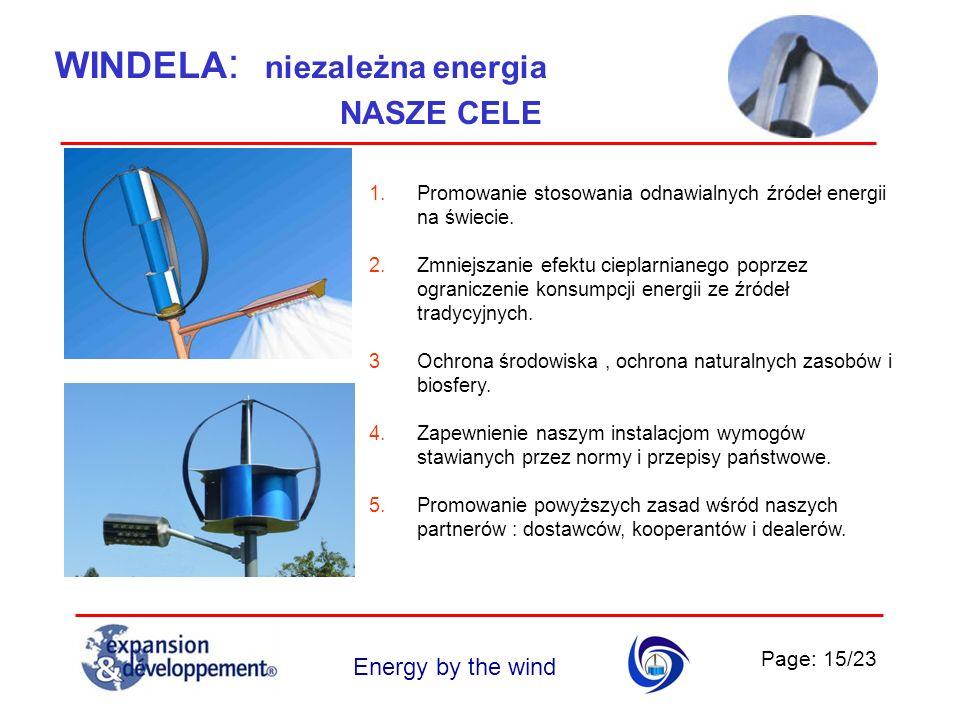 Page: 15/23 Energy by the wind WINDELA : niezależna energia 1.Promowanie stosowania odnawialnych źródeł energii na świecie. 2.Zmniejszanie efektu ciep