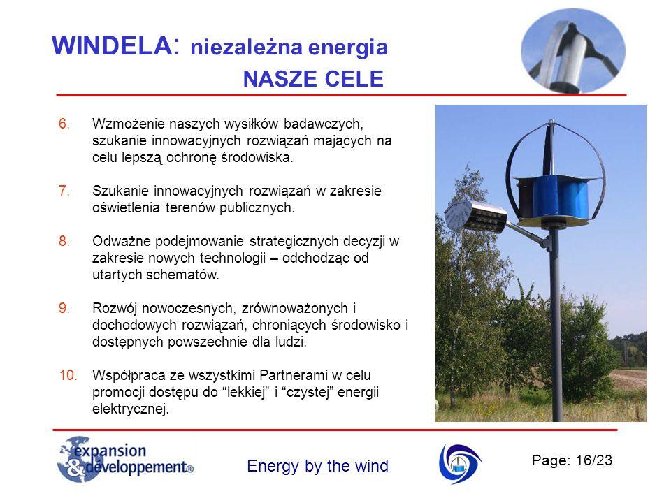 Page: 16/23 Energy by the wind WINDELA : niezależna energia 6.Wzmożenie naszych wysiłków badawczych, szukanie innowacyjnych rozwiązań mających na celu