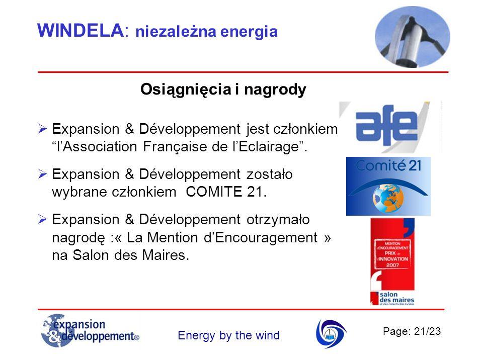 Page: 21/23 Energy by the wind WINDELA: niezależna energia Expansion & Développement jest członkiem lAssociation Française de lEclairage. Expansion &