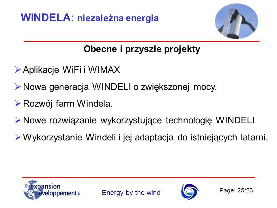 Page: 25/23 Energy by the wind Obecne i przyszłe projekty Aplikacje WiFi i WIMAX Nowa generacja WINDELI o zwiększonej mocy. Rozwój farm Windela. Nowe