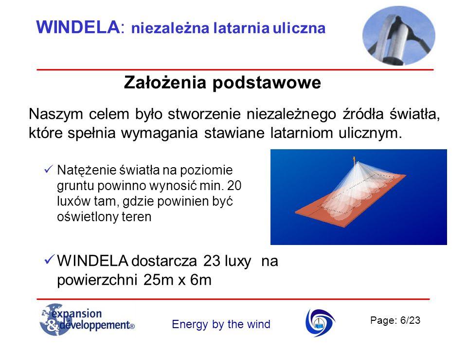 Page: 6/23 Energy by the wind WINDELA: niezależna latarnia uliczna Założenia podstawowe Naszym celem było stworzenie niezależnego źródła światła, któr