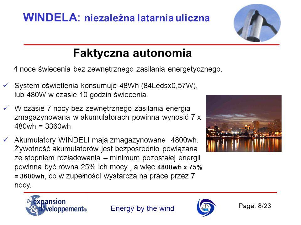 Page: 8/23 Energy by the wind Faktyczna autonomia 4 noce świecenia bez zewnętrznego zasilania energetycznego. System oświetlenia konsumuje 48Wh (84Led