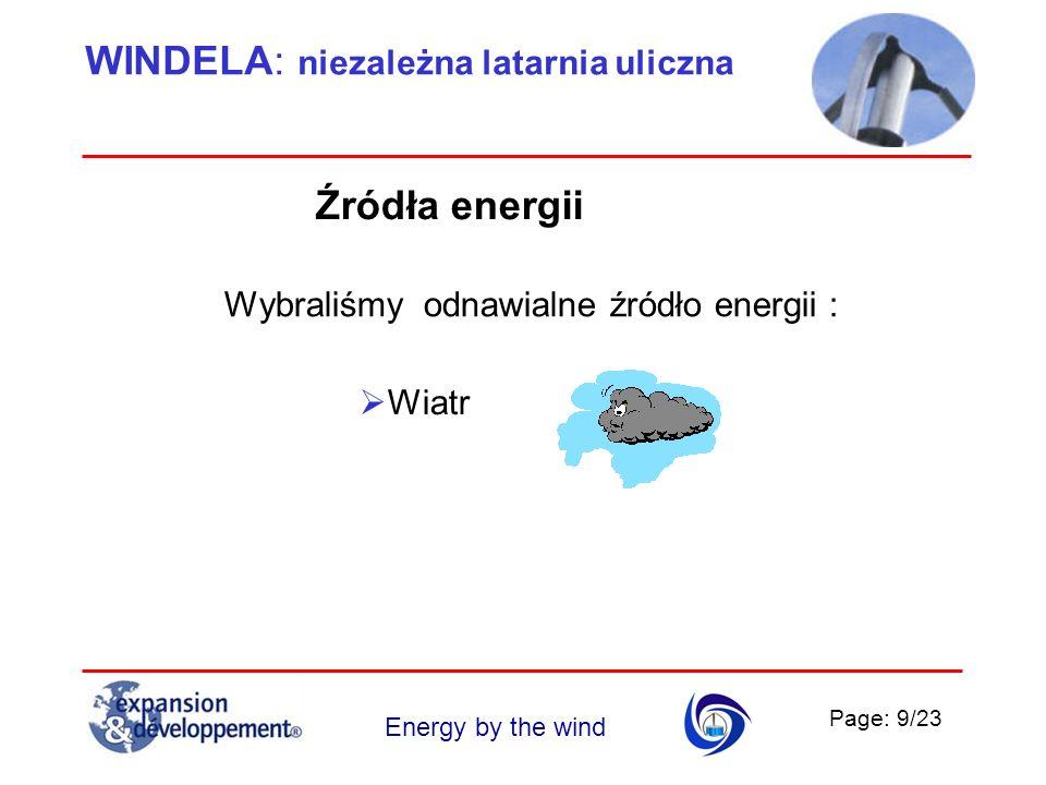 Page: 10/23 Energy by the wind WINDELA: niezależna latarnia uliczna WIATR Konstrukcja naszej turbiny zawiera kombinację 2 klasycznych turbin: Typ Savonius : 2 półcylindry z przesuniętymi osiami, co pozwala kręcić się nawet przy słabym wietrze, Typ Darrieus : 3 wygięte pióra, które bardzo dobrze się sprawdzają przy silnych wiatrach.