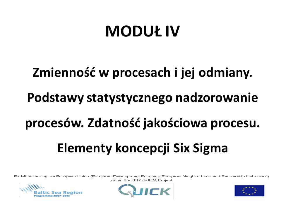 MODUŁ IV Zmienność w procesach i jej odmiany. Podstawy statystycznego nadzorowanie procesów. Zdatność jakościowa procesu. Elementy koncepcji Six Sigma