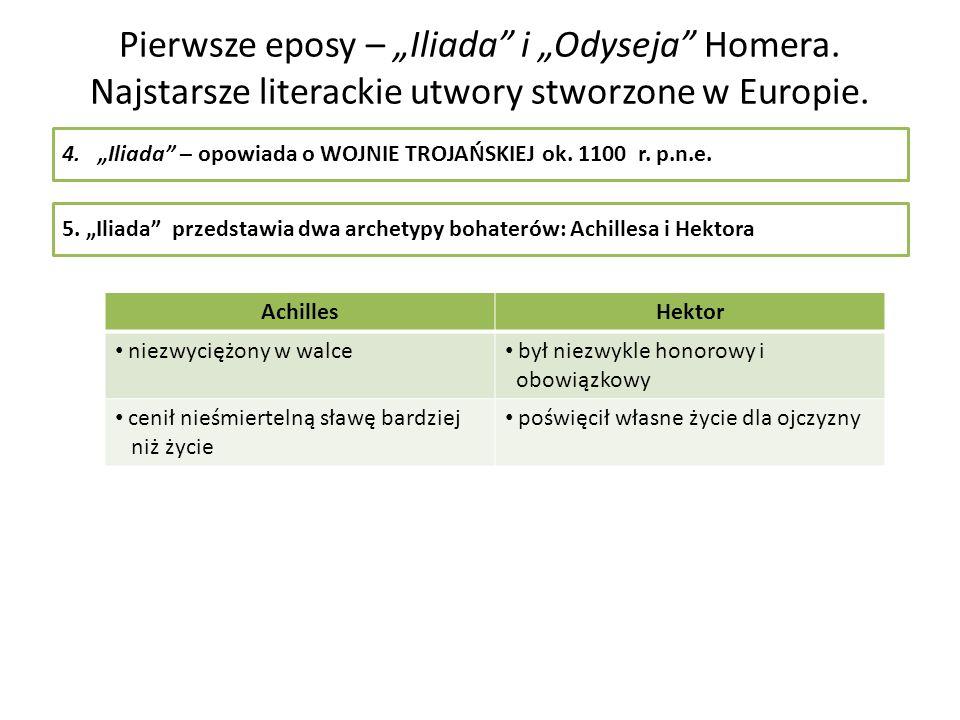 Pierwsze eposy – Iliada i Odyseja Homera. Najstarsze literackie utwory stworzone w Europie. 4.Iliada – opowiada o WOJNIE TROJAŃSKIEJok. 1100 r. p.n.e.