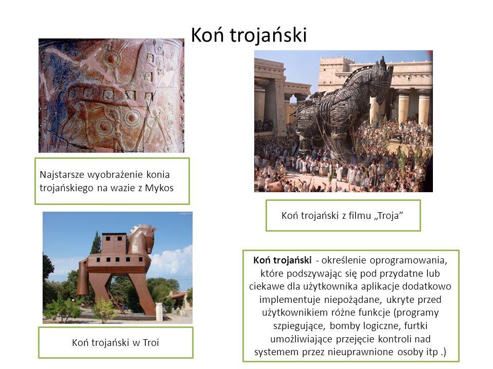Koń trojański Najstarsze wyobrażenie konia trojańskiego na wazie z Mykos Koń trojański z filmu Troja Koń trojański - określenie oprogramowania, które